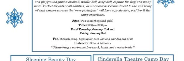 Winter Break: 3Point Athletics All Sports and Games Camp Camp (ages 6-14 yrs)